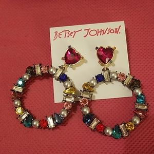 Betsey Johnson multi gem hoop NWT